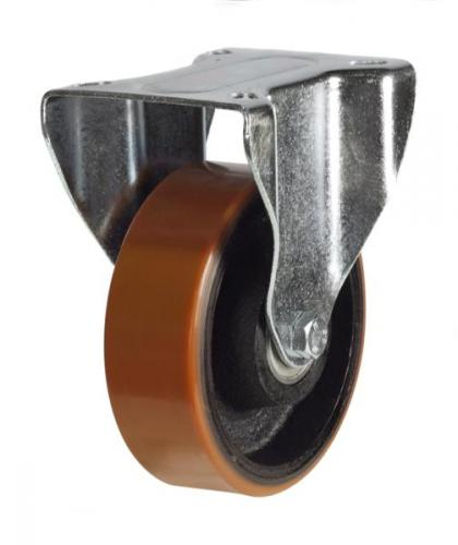 150mm Light Duty Polyurethane on Cast Iron Fixed castors - 350kg capacity