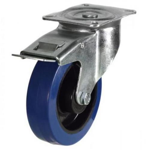 100mm Heavy Duty Blue Rubber Braked Castors