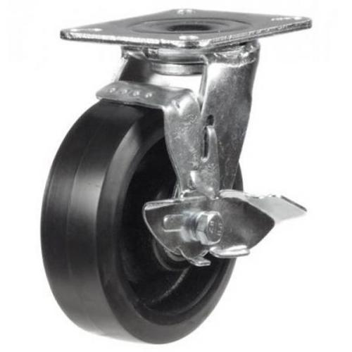 100mm Heavy Duty Rubber on Cast Iron Braked castors - 220kg capacity