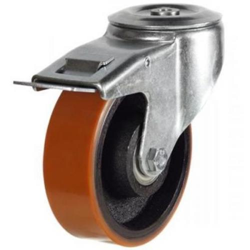 100mm Light Duty Polyurethane on Cast Iron M12 Bolt Hole Braked castors - 220kg capacity