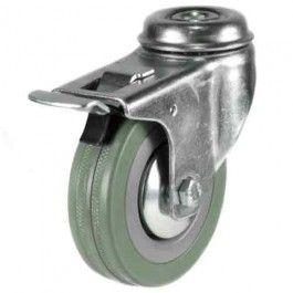 100mm Rubber Non-Marking Braked Castors