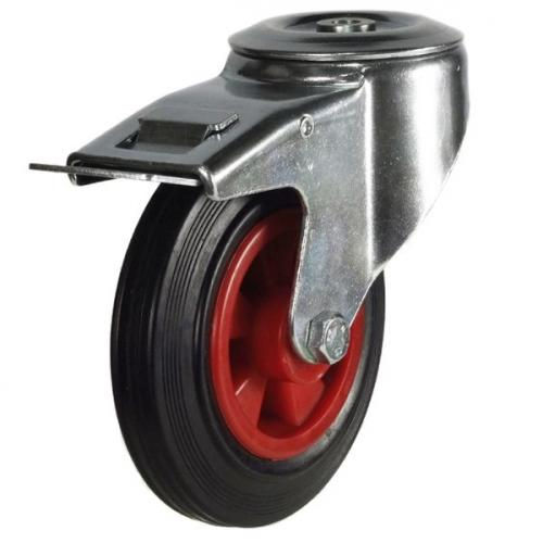 125mm Heavy Duty M12 Bolt Hole Braked Castors - 100kg capacity