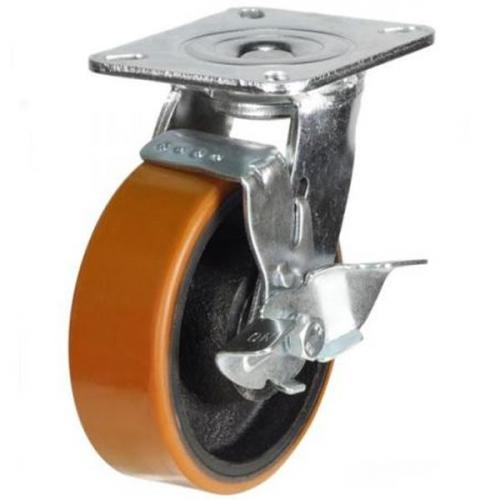 125mm Heavy Duty Polyurethane on Cast Iron Braked castors - 500kg capacity