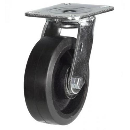 125mm Heavy Duty Rubber on Cast Iron Swivel castors - 275kg capacity