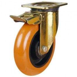 125mm Round Profile Polyurethane On Cast Iron Core Braked Castors