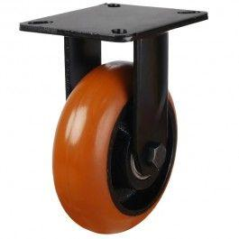 125mm Round Profile Polyurethane On Cast Iron Core Fixed Castors