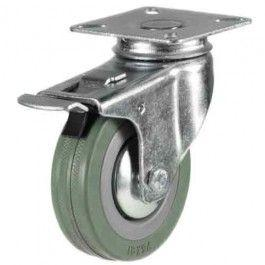 125mm Rubber Non-Marking Braked Castors