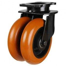 150mm Heavy Duty Round Profile Polyurethane On Cast Iron Core Twin Wheel Swivel Castors