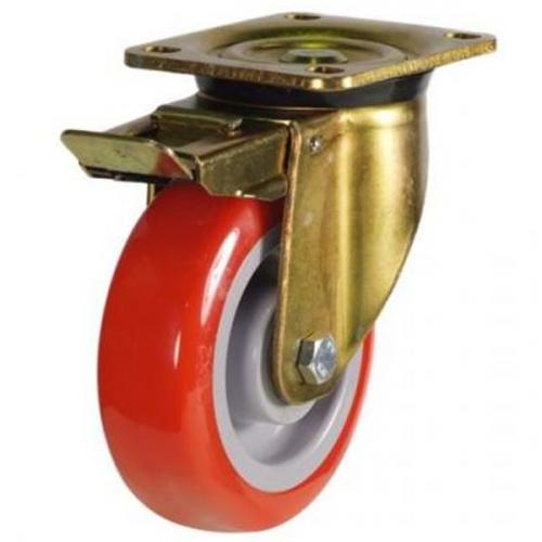 200mm Heavy Duty Poly Nylon Braked castors - 430kg capacity