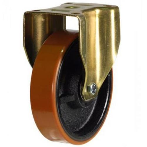 200mm Heavy Duty Polyurethane on Cast Iron Fixed castors - 800kg capacity