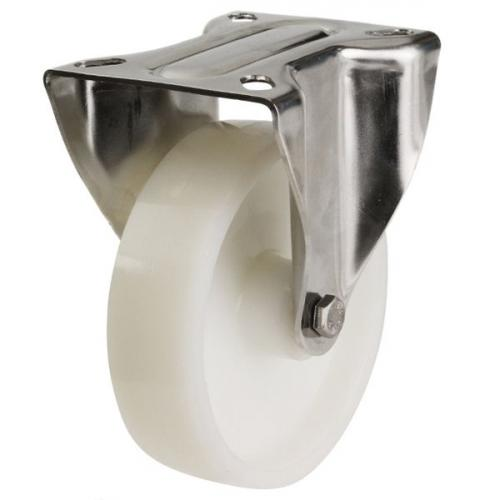 200mm Light Duty Nylon Fixed castors - 350kg capacity