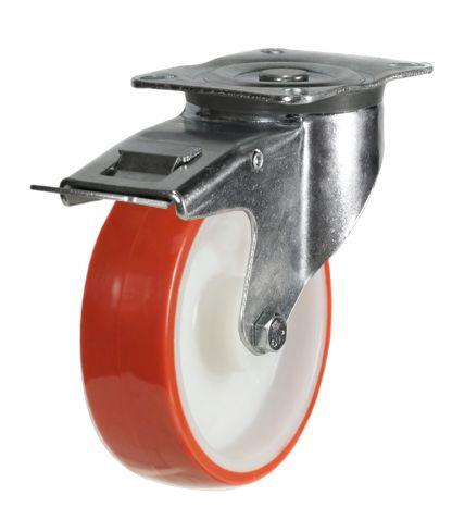 125mm medium duty braked castor elastic poly/nylon wheel