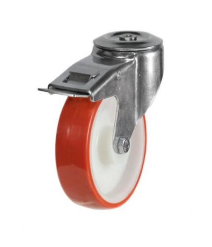 M12 Bolt Hole Braked castors 100mm wheel diameter upto 150kg capacity