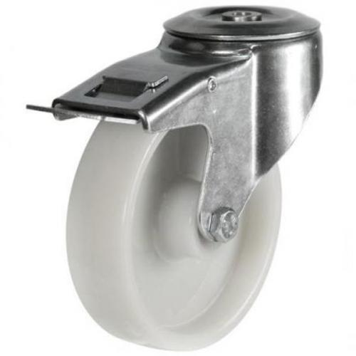 M12 Bolt Hole Braked castors 100mm wheel diameter upto 200kg capacity
