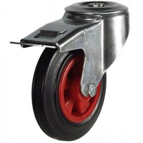 M12 Bolt Hole Braked castors 100mm wheel diameter upto 70kg capacity