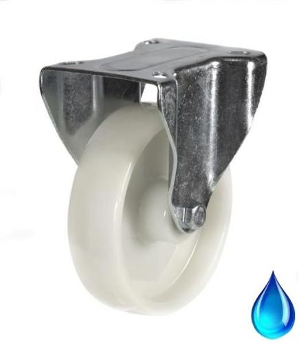 Stainless Steel Fixed castor 100mm wheel diameter upto 200kg capacity