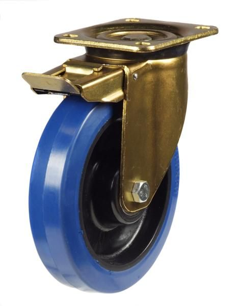 GDH Series; Heavy Duty Pressed Steel Bracket/Blue Elastic Rubber castor