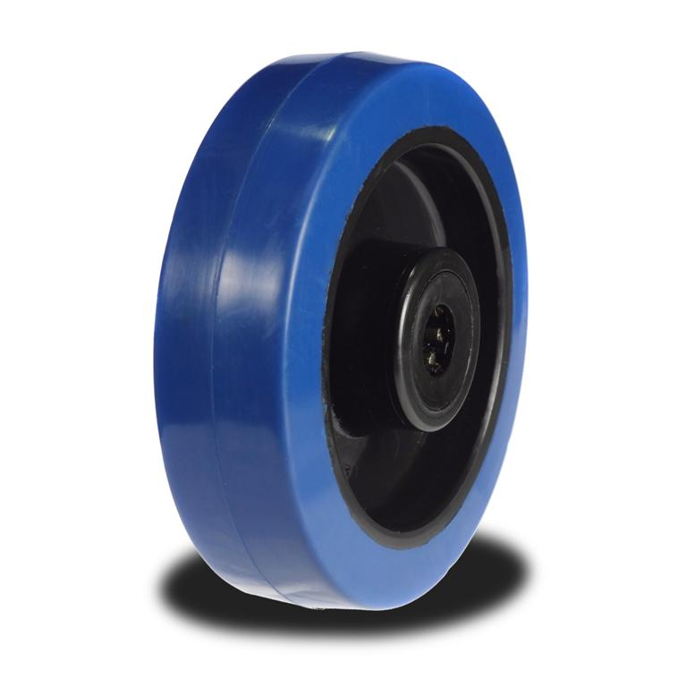 Wheel Bearing Price >> 80mm Wheel with Blue Elastic Rubber on Nylon Centre 150Kg Capacity