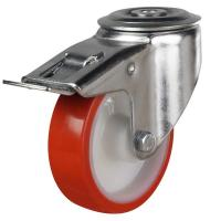 DR Bolt Hole Braked Castors - Plain Bore
