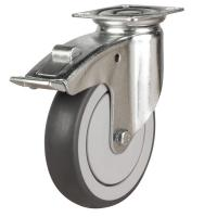 LWABJ/TPR Grey Rubber Castors with Plastic Centre