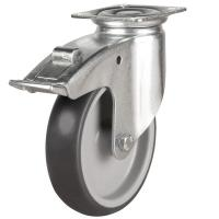 LWA/TPR Grey Rubber Castors With Plastic Centre