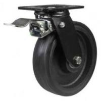 LMHBRT Black Rubber on Cast Iron Core Braked Castors