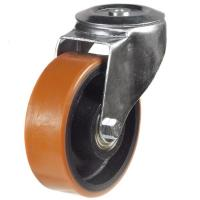 100mm Light Duty Polyurethane on Cast Iron M12 Bolt Hole castors - 220kg capacity
