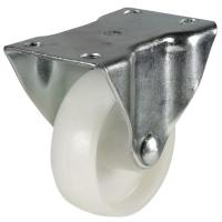 100mm Light Duty White Nylon Fixed Castors - 140KG
