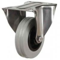 100mm Medium Duty Non-Marking Rubber Stainless Steel Fixed Castors