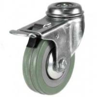 100mm Synthetic Grey Rubber Bolt Hole Braked Castor Up To 80kg Capacity