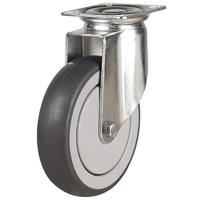 100mm Synthetic Non-Marking Rubber Swivel Castor Up To 90kg Capacity