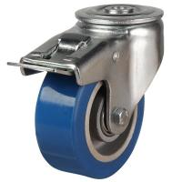 125mm Elastic Polyurethane On Aluminium Centre 80 Shore A Braked Castors