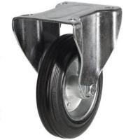125mm Light Duty Rubber on Steel Fixed Castor - 100kg capacity