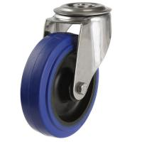 125mm Medium Duty Rubber on Nylon M12 Bolt Hole castors - 250kg capacity