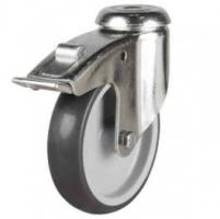 125mm Synthetic Non-Marking Rubber Bolt Hole Braked Castor Up To 110kg Capacity