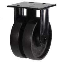 150mm Heavy Duty Cast Iron Twin Wheel Fixed castors - 1600kg capacity