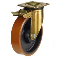 150mm Heavy Duty Polyurethane on Cast Iron Braked castors - 700kg capacity