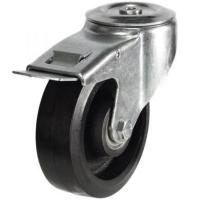 150mm Light Duty Rubber on Cast Iron M12 Bolt Hole Braked castors - 350kg capacity
