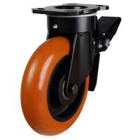 150mm Round Profile Polyurethane On Cast Iron Core Heavy Duty Braked Castors