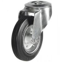 160mm Heavy Duty Rubber on Steel Bolt Hole castors - 135kg capacity