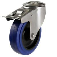 160mm Light Duty Rubber on Steel M12 Bolt Hole Braked castors - 350kg capacity