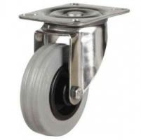160mm medium duty Stainless Steel swivel castor grey rubber wheel