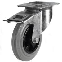 160mm medium duty braked castor grey rubber wheel