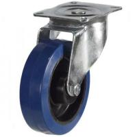 160mm medium duty swivel castor blue elastic rubber wheel