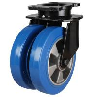 200mm Heavy Duty Elastic Polyurethane On Aluminium Centre Swivel Castors