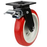 200mm Heavy Duty Polyurethane On Nylon Centre Braked Castors