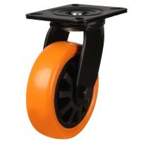 200mm Heavy Duty Polyurethane On Nylon Centre Swivel Castor