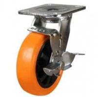 200mm Polyurethane On Nylon Centre Braked Castors