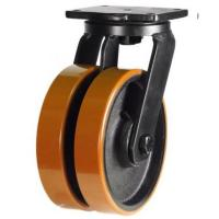 200mm Ultra Heavy Duty Double Wheel Swivel Castor with Biscuit Colour Polyurethane / Cast Iron Wheels