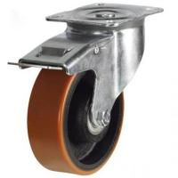 200mm medium duty braked castor poly/cast wheel